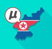North Korea map with  a micro sign, mu greek letter Stock Photo