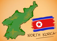 North Korea Map and National Flag Vector Royalty Free Stock Image