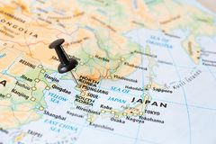 North Korea map with pin world hot spot concept. North Korea map and pin pointing to the capital Pyongyang, world hot spot concept stock photography