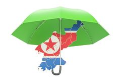 North Korea map under umbrella. Security and protect or insuranc Stock Images