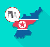 North Korea map with  the Unites States of America waving flag Stock Images