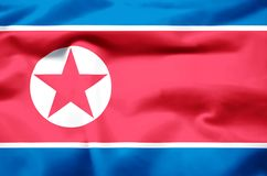 North korea realistic flag illustration. Usable for Background and Texture vector illustration