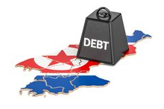 North Korea national debt or budget deficit, financial crisis co. Ncept, 3D Royalty Free Stock Image