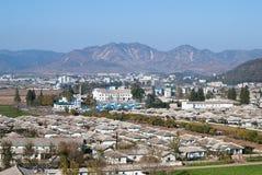 NORTH KOREA, October 11, 2011. KNDR. Village under the mountain Stock Image
