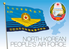 North Korea People`s Airforce flag and coat of arms. Vector file, illustration Royalty Free Stock Photos