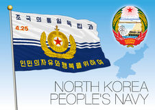 North Korea People`s Navy flag Stock Images