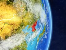 North Korea on planet planet Earth with country borders. Extremely detailed planet surface and clouds. 3D illustration. Elements. Of this image furnished by royalty free illustration