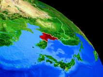 North Korea on planet Earth. From space with country borders. Very fine detail of planet surface. 3D illustration. Elements of this image furnished by NASA stock illustration