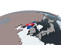 North Korea with flag on globe. North Korea on political globe with embedded flag. 3D illustration stock illustration