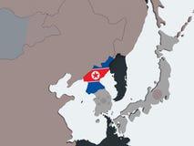 North Korea with flag on globe. North Korea on political globe with embedded flag. 3D illustration vector illustration