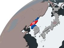 North Korea with flag on globe. North Korea on political globe with embedded flag. 3D illustration royalty free illustration