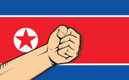 North korea protest fight against a war illustration with flag as background and hand Stock Images