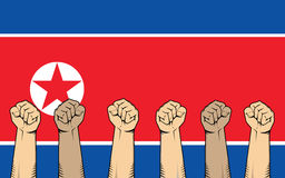 North korea protest fight against a war illustration with flag as background and a lot of hand Stock Photo