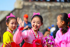 North Korea, Pyongyang, April 15, 2012 - celebrating the birthda Royalty Free Stock Image