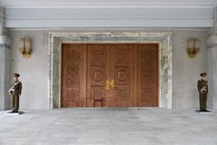 North Korea. Myohyangsan. Gift museum. North Korea, Pyongyang - April 30, 2019: Entrance in International exhibition of friendship. Gift museum to the presidents royalty free stock image