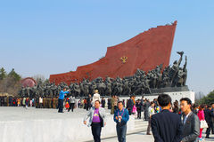 North Korea, Pyongyang, April 13, 2012, Mansudae Hill, monument, Royalty Free Stock Image