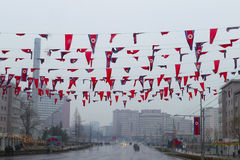 North Korea, Pyongyang, April, 2012 - rainy city on the eve of 1 Stock Images