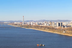 North Korea, Pyongyang, April, 2012 - Tedongan river, view of th Royalty Free Stock Images