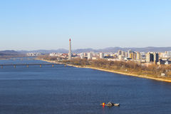 North Korea, Pyongyang, April, 2012 - Tedongan river, view of th Royalty Free Stock Photo