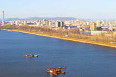 North Korea, Pyongyang, April, 2012 - Tedongan river, view of th Royalty Free Stock Photos
