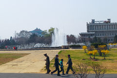 North Korea, Pyongyang, April 11, 2012 - views of the city durin Royalty Free Stock Photo
