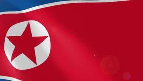North Korea realistic flag animation. vector illustration