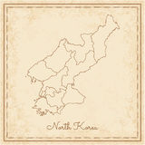 North Korea region map: stilyzed old pirate. Royalty Free Stock Photos