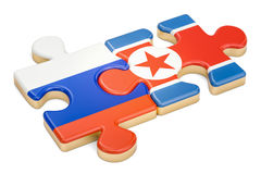 North Korea and Russia puzzles from flags, 3D rendering. Isolated on white background Stock Photos