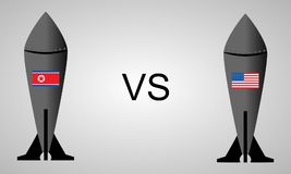 North Korea`s Nuclear vs United States Nuclear in Missiles Illustration Stock Images