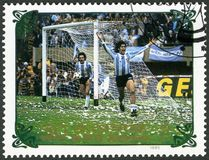 NORTH KOREA - 1985: shows Argentina vs. Netherlands, 1978, series World Cup Soccer 1970-1986 Royalty Free Stock Image