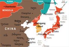North Korea South Korea Japan China Russia Mongolia Map - Vector Illustration Royalty Free Stock Images