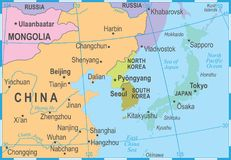 North Korea South Korea Japan China Russia Mongolia Map - Vector Illustration Royalty Free Stock Photo