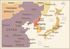 North Korea South Korea Japan China Russia Mongolia Map - Vintage Vector Illustration Stock Image
