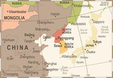 North Korea South Korea Japan China Russia Mongolia Map - Vintage Vector Illustration Royalty Free Stock Photos