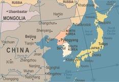 North Korea South Korea Japan China Russia Mongolia Map - Vintage Vector Illustration Stock Photography