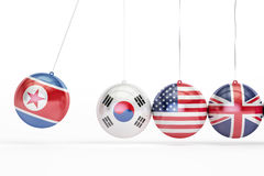 North Korea, South Korea, USA, Great Britain political conflict. Concept. 3D rendering on white background Royalty Free Stock Photography