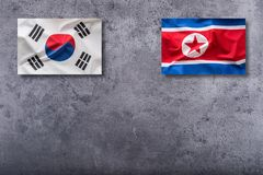 North Korea and Soutth korea flags. North Korea and South korea stock images