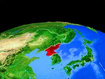 North Korea from space on Earth. North Korea on model of planet Earth with country borders and very detailed planet surface. 3D illustration. Elements of this royalty free illustration