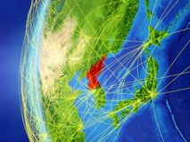 North Korea from space with network. North Korea from space on model of Earth with international network. Concept of digital communication or travel. 3D stock illustration