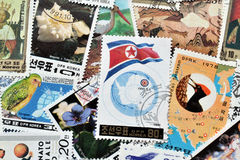 North Korea on stamps Stock Image