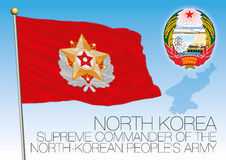 North Korea Supreme Commander flag and coat of arms. Vector file, illustration Stock Photos