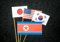 North Korea, United States of America USA, South Korea and Japan Royalty Free Stock Image