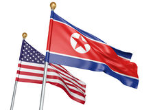 North Korea and United States flags flying together for important diplomatic talks, 3D rendering. National flags from North Korea and the United States flying Royalty Free Stock Photo