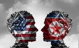 North Korea And United States Talks. Facing nuclear tensions as a meeting with two groups of bombs and missiles shaped as a human head as a 3D illustration Royalty Free Stock Image