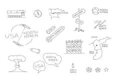 North Korea and US International relationships conflict Set. Dialogue on nuclear weapons missile. Hand drawn vector. Stock illustration. Pen or pencil drawing Royalty Free Stock Image