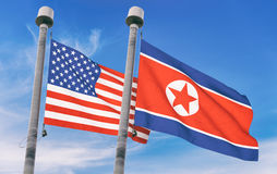North Korea and USA flags Royalty Free Stock Photography