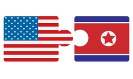 North Korea and USA flags puzzle stock photo