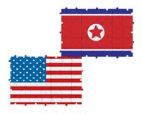 North Korea and USA flags puzzle Royalty Free Stock Images