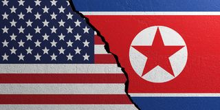North Korea and USA flag, plastered wall background. 3d illustration Stock Photos