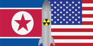 North Korea USA Flag Nuclear Missile vector Illustration. North Korea USA 2018 Summit Flags with Nuclear Missile Symbol Outline Color vector Illustration Stock Photos